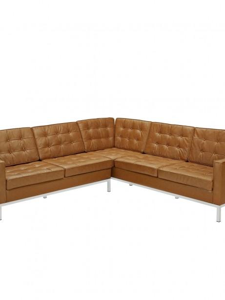 Tan Bateman Leather L Shaped Sectional Sofa 461x614