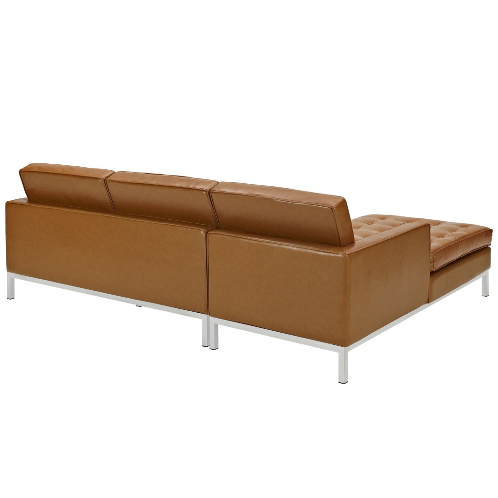 Tan Bateman Leather Left Arm Sectional Sofa 2