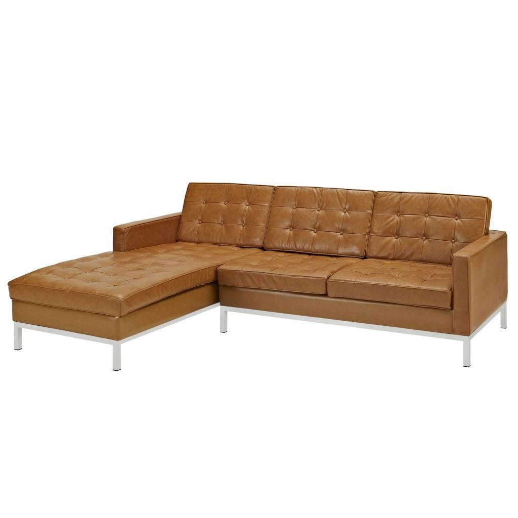 Tan Bateman Leather Left Arm Sectional Sofa