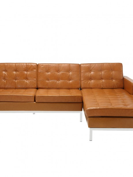 Tan Bateman Leather Right Arm Sectional Sofa 1 461x614
