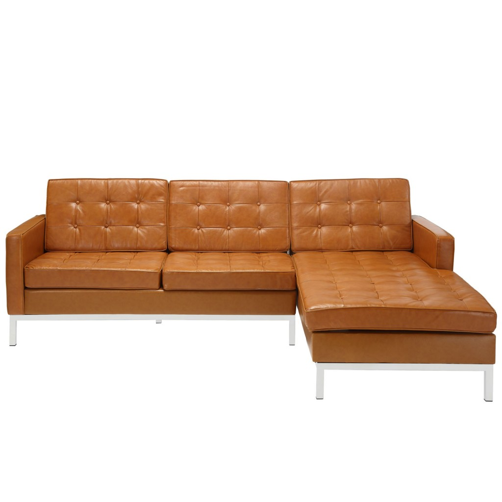 Tan Bateman Leather Right Arm Sectional Sofa 1