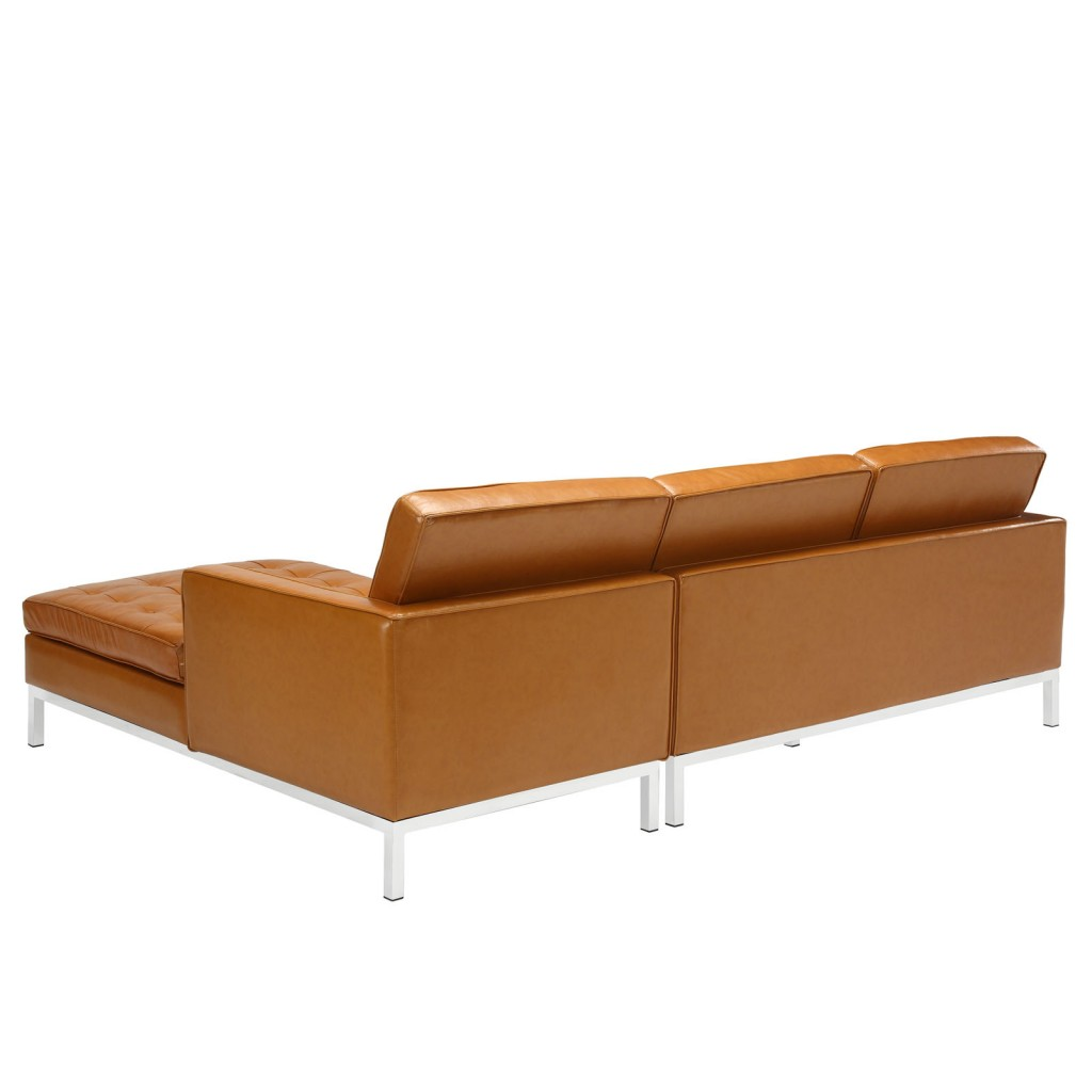 Tan Bateman Leather Right Arm Sectional Sofa 2