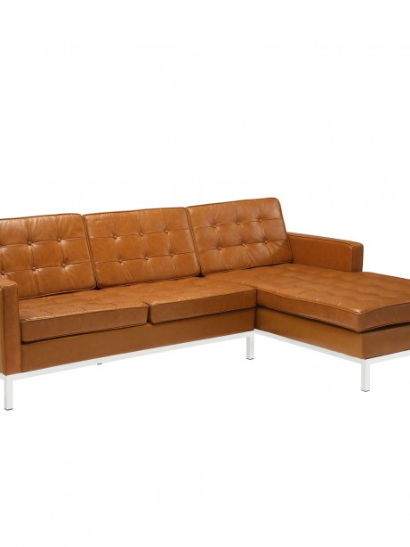 Tan Bateman Leather Right Arm Sectional Sofa 461x614
