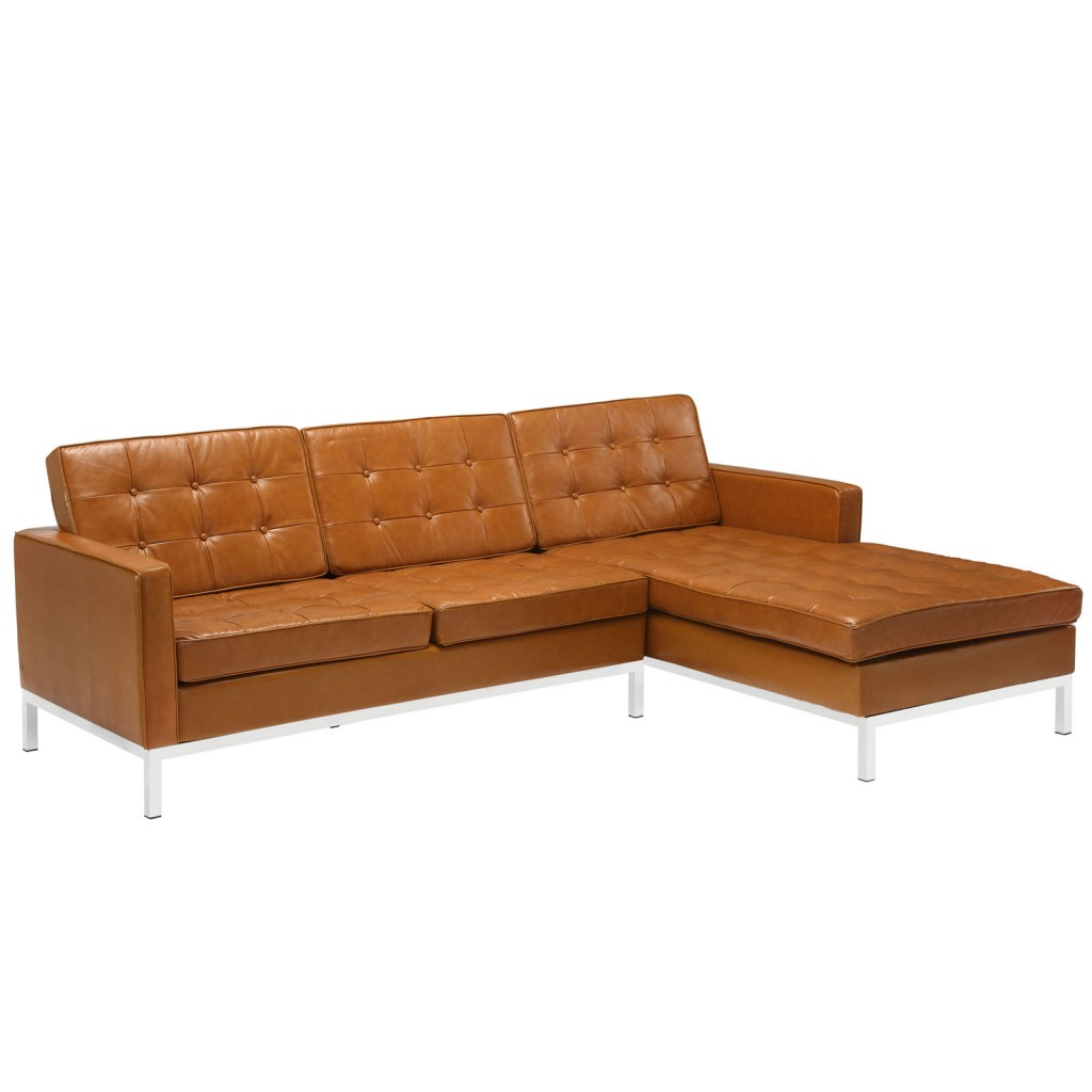 Tan Bateman Leather Right Arm Sectional Sofa
