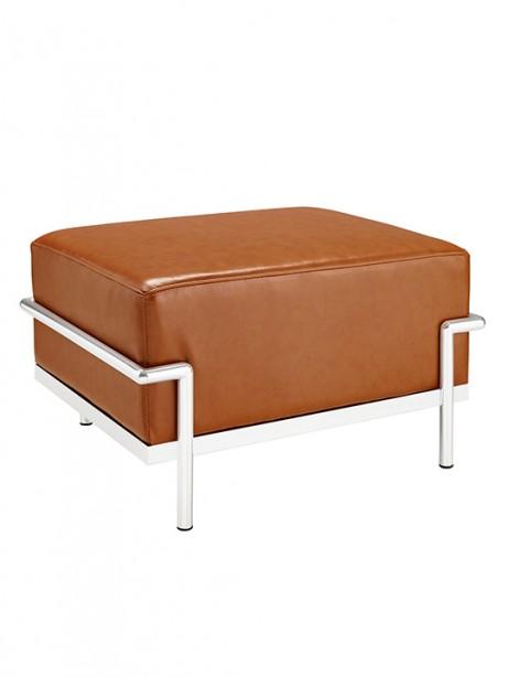 Tan Simple Large Leather Ottoman 461x614
