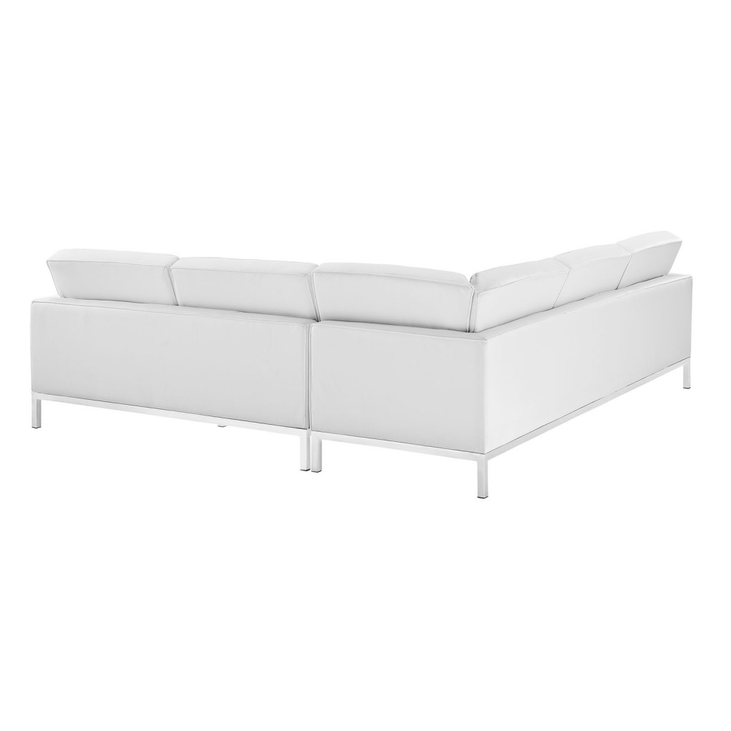 White Bateman Leather L Shaped Sectional Sofa 1
