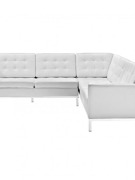 White Bateman Leather L Shaped Sectional Sofa 2 461x614