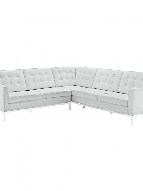 White Bateman Leather L Shaped Sectional Sofa 461x614