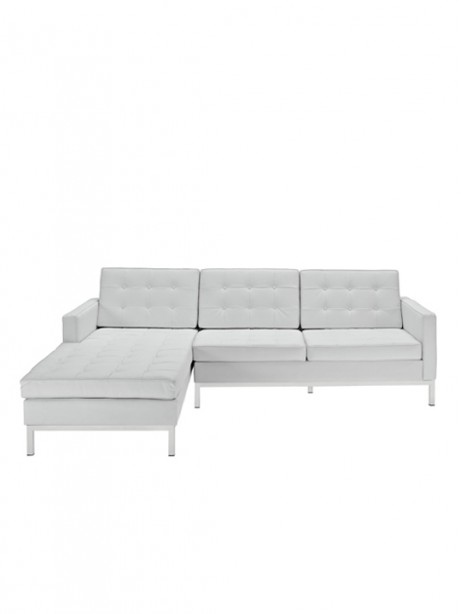 White Bateman Leather Left Arm Sectional Sofa 1 461x614