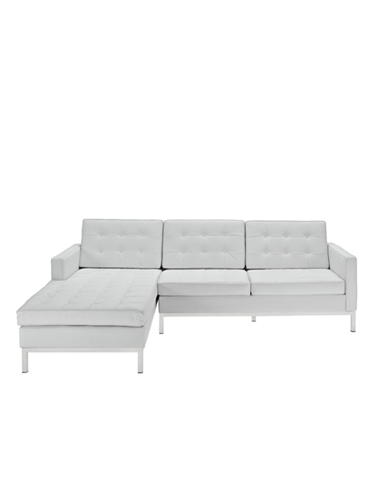 White Bateman Leather Left Arm Sectional Sofa 1