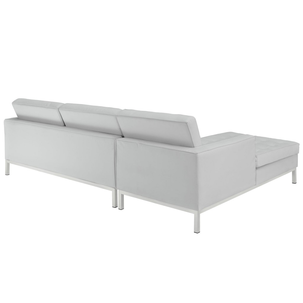 White Bateman Leather Left Arm Sectional Sofa 2