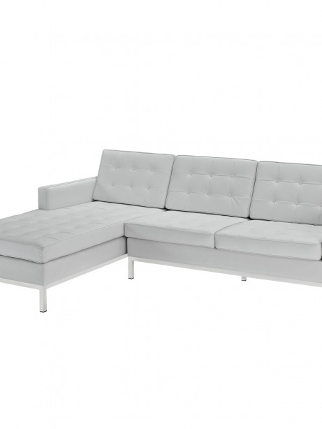 White Bateman Leather Left Arm Sectional Sofa 461x614
