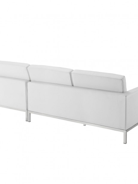 White Bateman Leather Right Arm Sectional Sofa 1 461x614