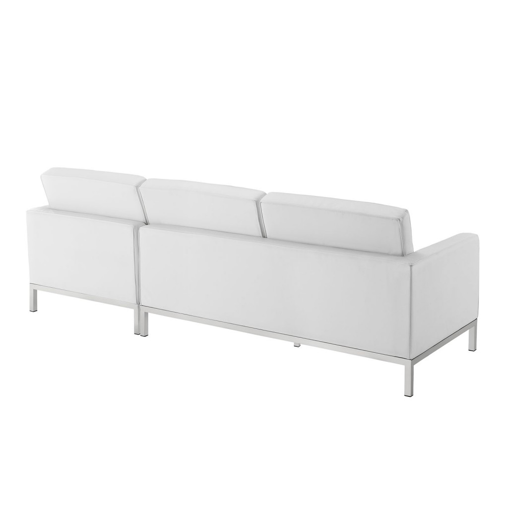 White Bateman Leather Right Arm Sectional Sofa 1