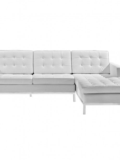 White Bateman Leather Right Arm Sectional Sofa 2 461x614