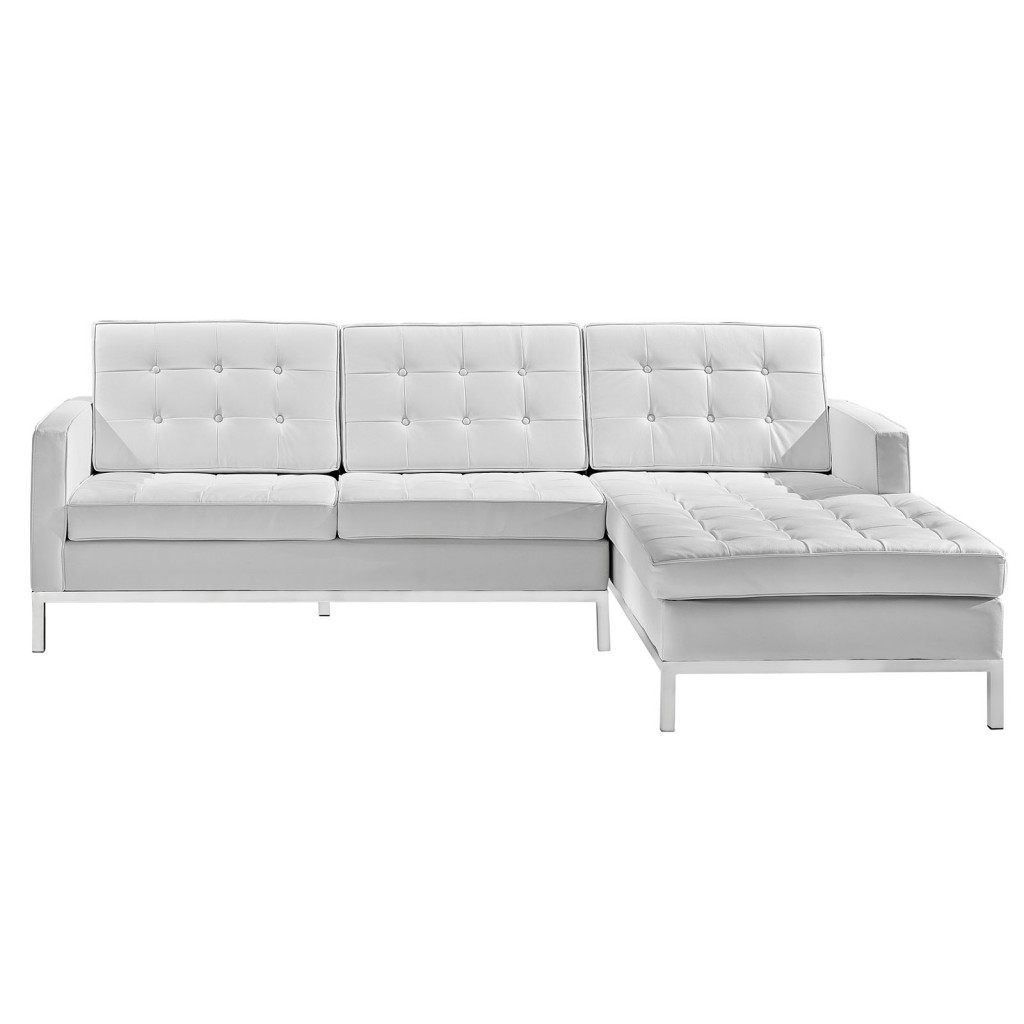 White Bateman Leather Right Arm Sectional Sofa 2