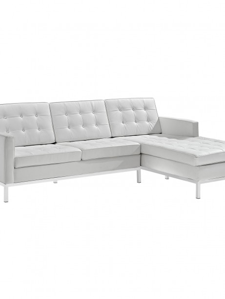 White Bateman Leather Right Arm Sectional Sofa 461x614