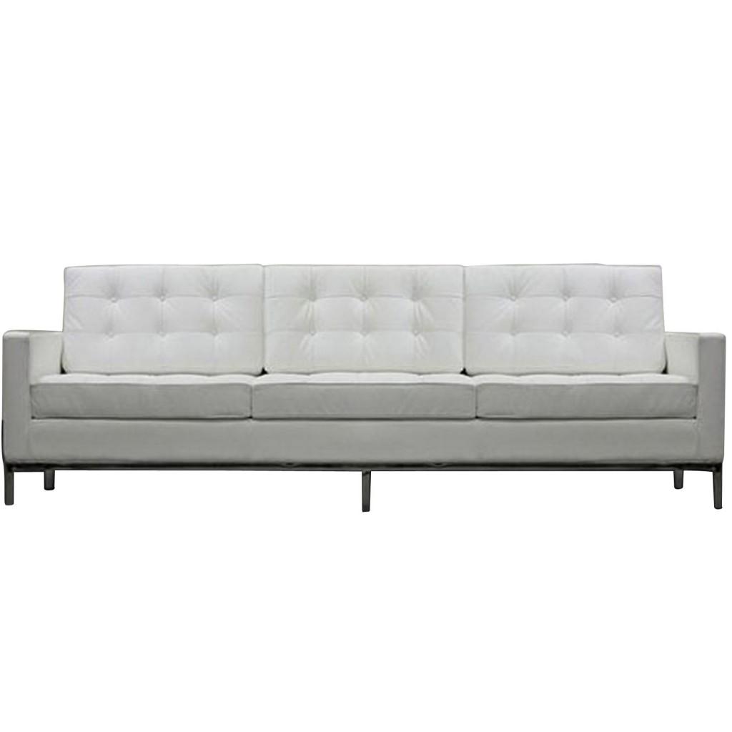 White Bateman Leather Sofa