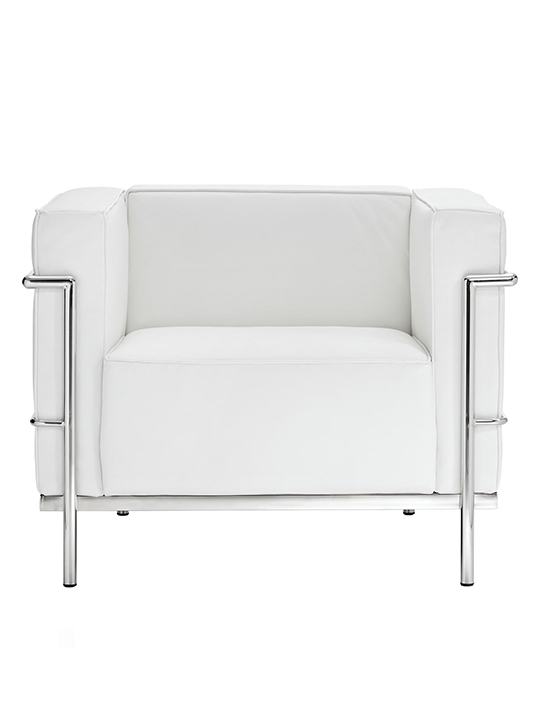 White Simple Large Leather Armchair