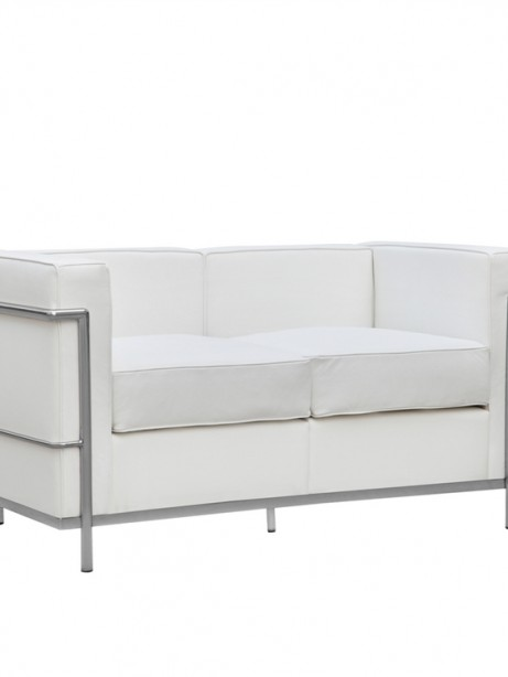 White Simple Medium Leather Loveseat 1 461x614