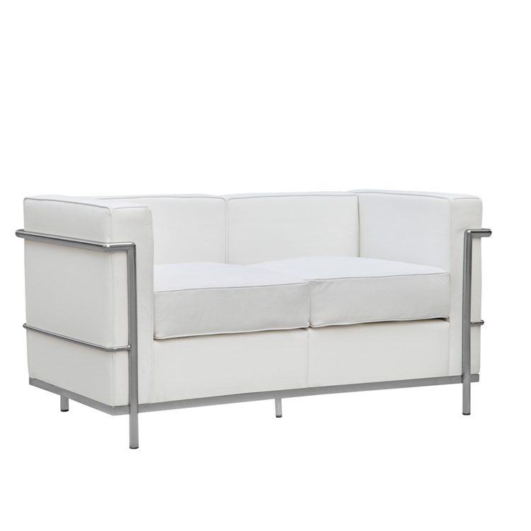 White Simple Medium Leather Loveseat 1