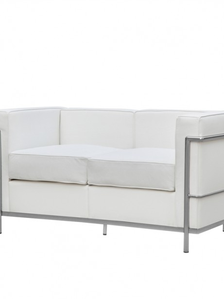 White Simple Medium Leather Loveseat 5 461x614