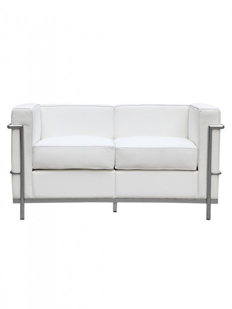 White Simple Medium Leather Loveseat1 461x614