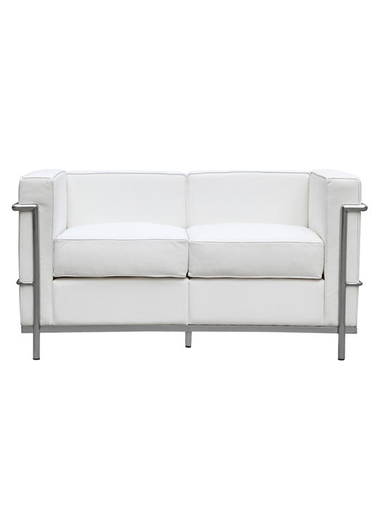White Simple Medium Leather Loveseat1