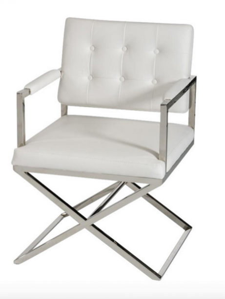 Glam Chair White Leather 461x614