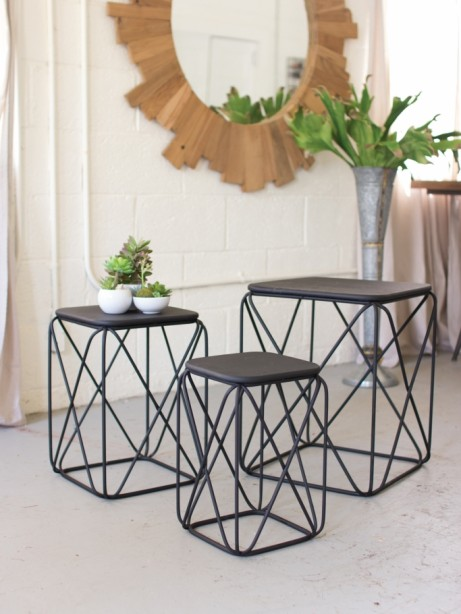 Black Wire Table Set of 3 461x614
