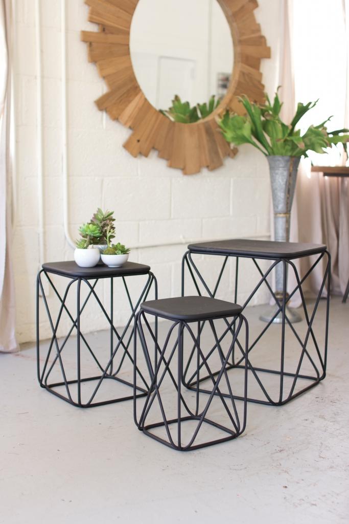 Attirant Black Wire Table Set Of 3