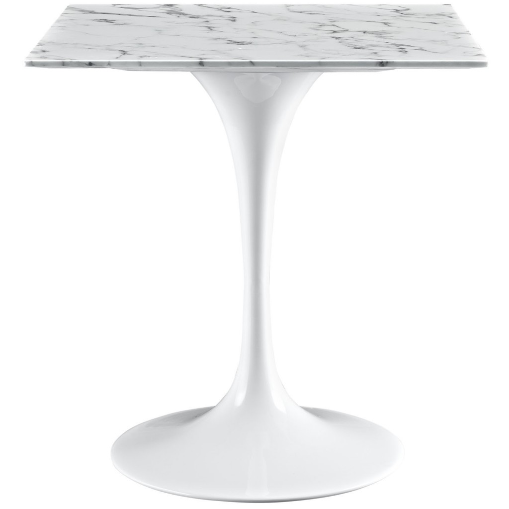 Brilliant Square White Marble Dining Table 28 Inch 2