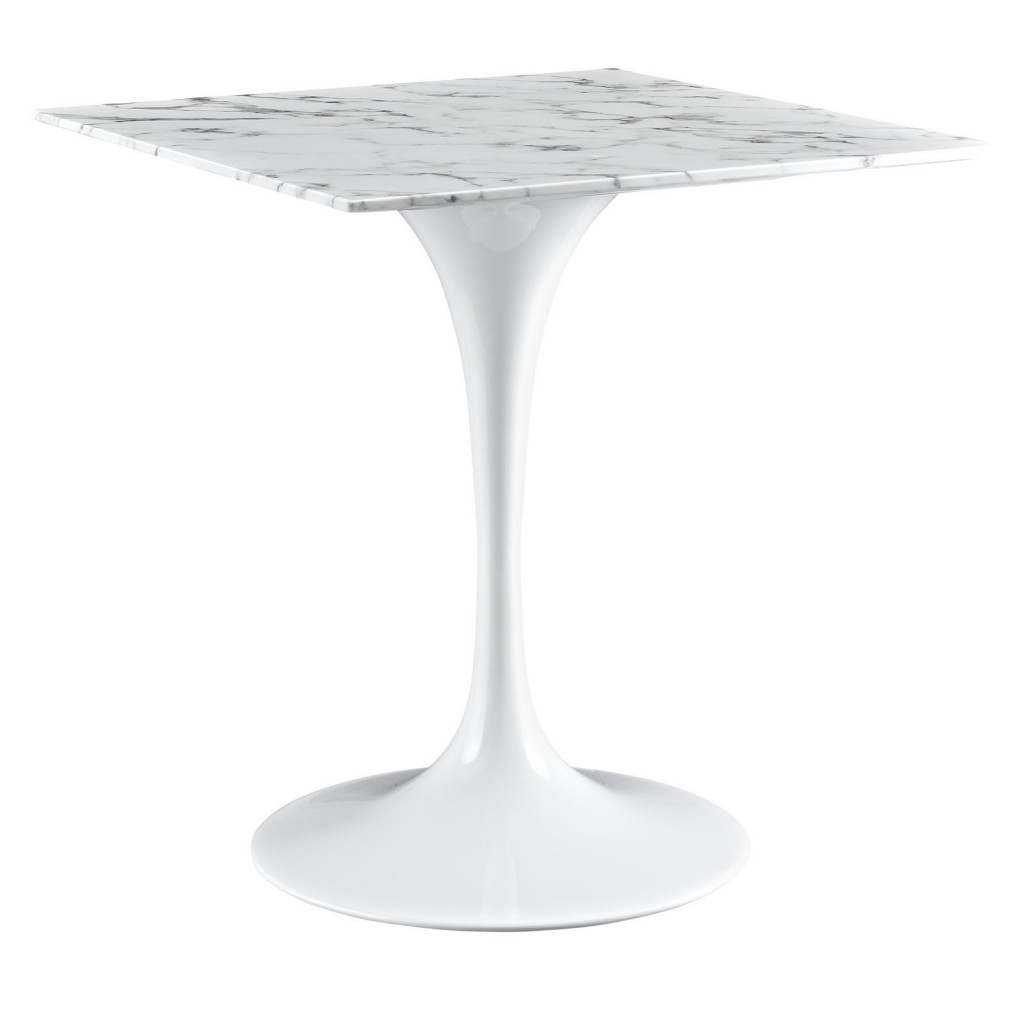 Brilliant Square White Marble Dining Table 28 Inch
