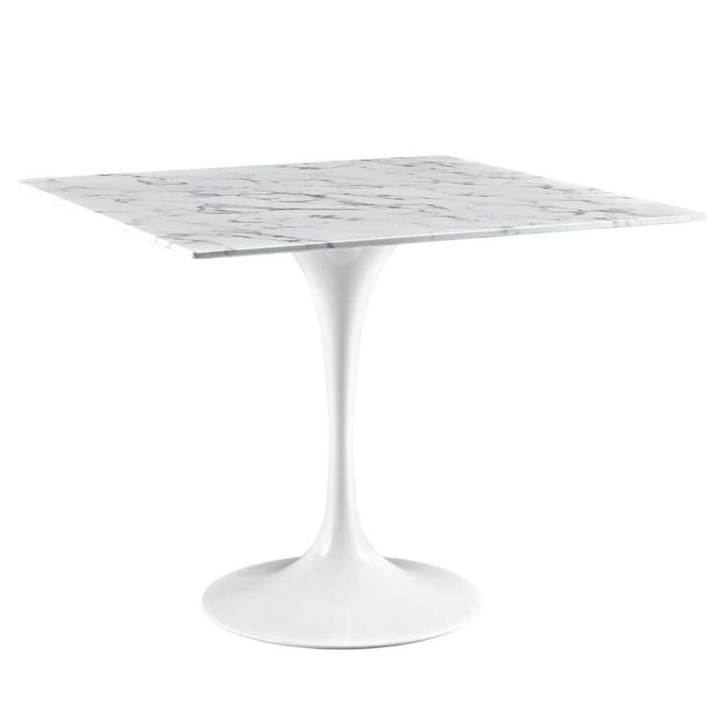 Brilliant Square White Marble Dining Table 36 Inch