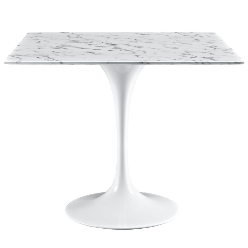 Brilliant Square White Marble Dining Table 36 Inch 2