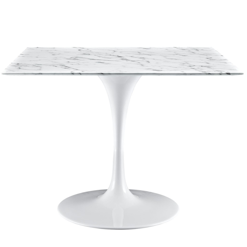 Brilliant Square White Marble Dining Table 40 Inch 2