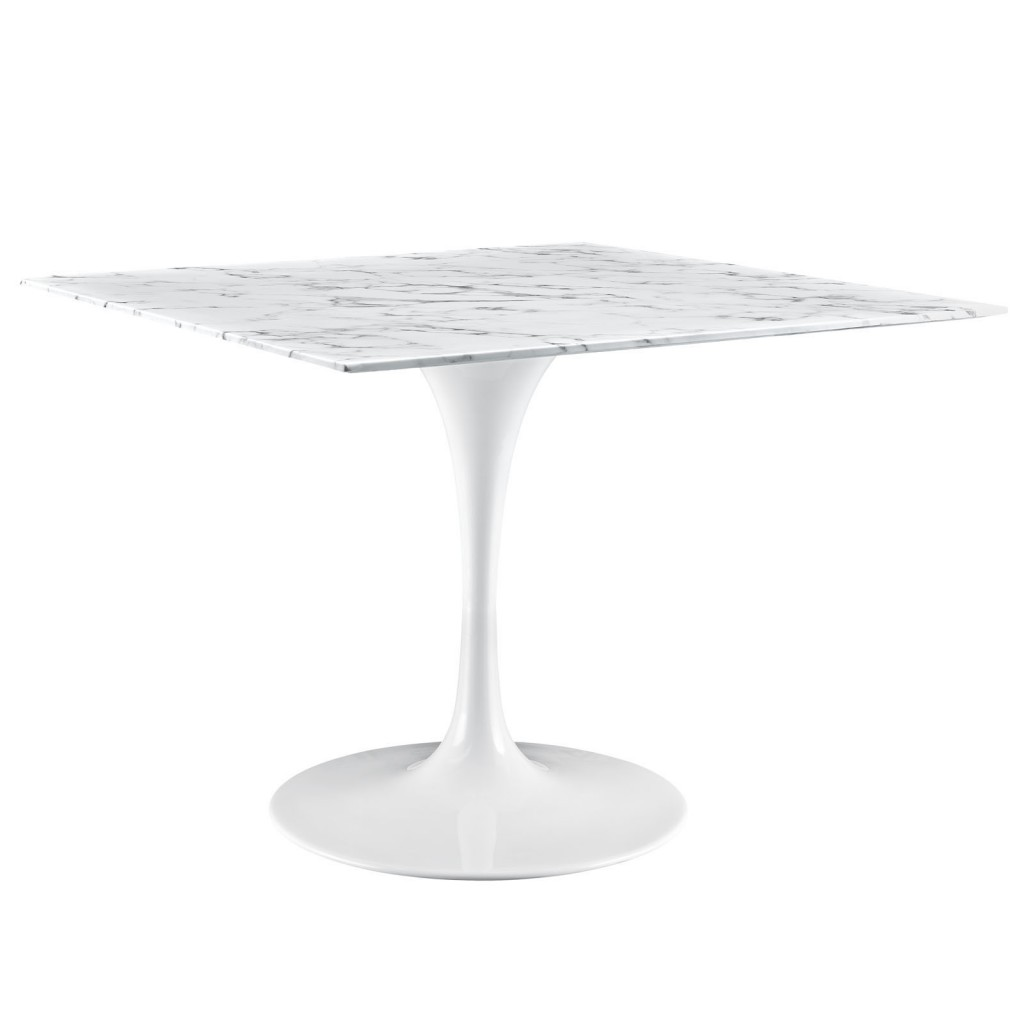 Brilliant Square White Marble Dining Table 40 Inch