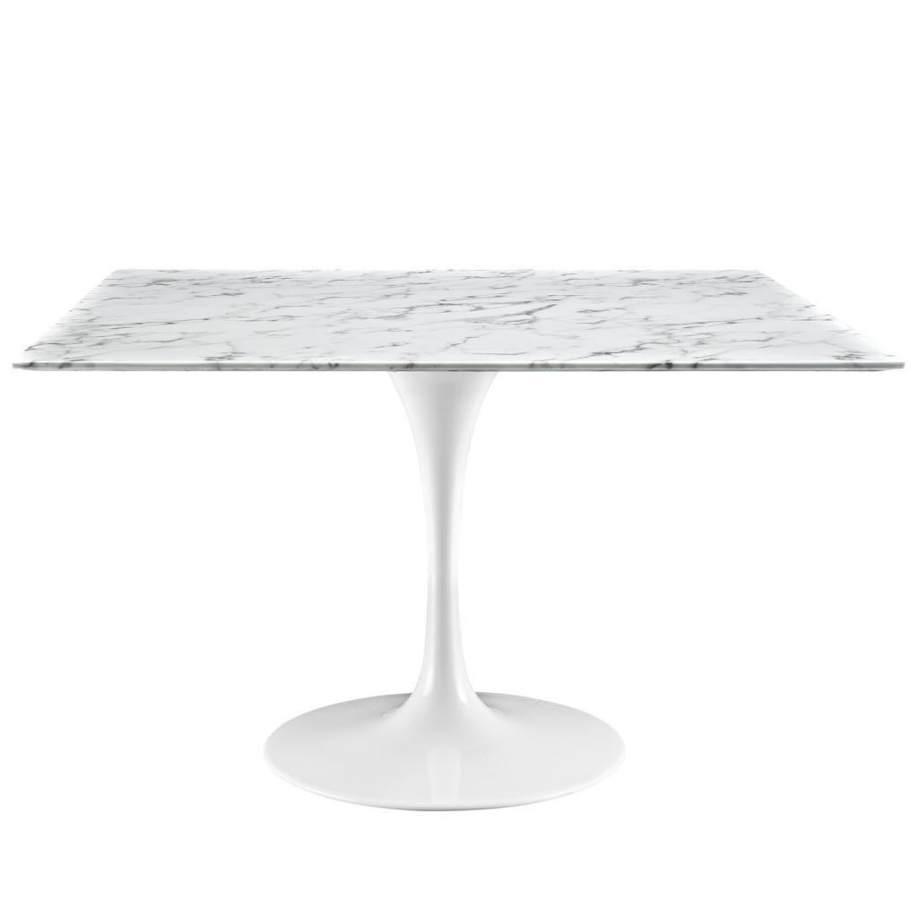 Brilliant Square White Marble Dining Table 48 Inch 2