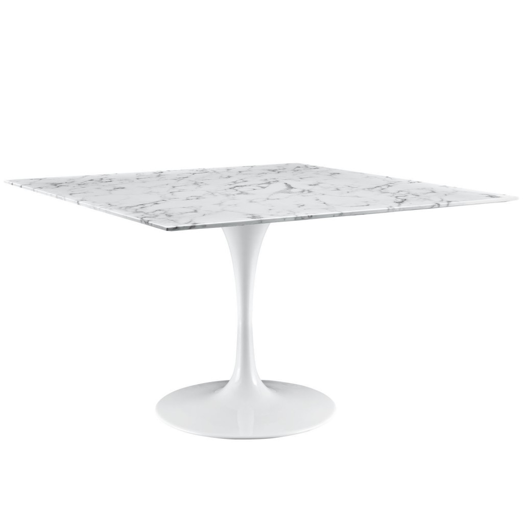 Brilliant Square White Marble Dining Table 48 Inch