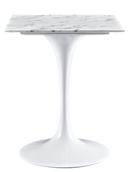 Brilliant Square White Marble Side Table