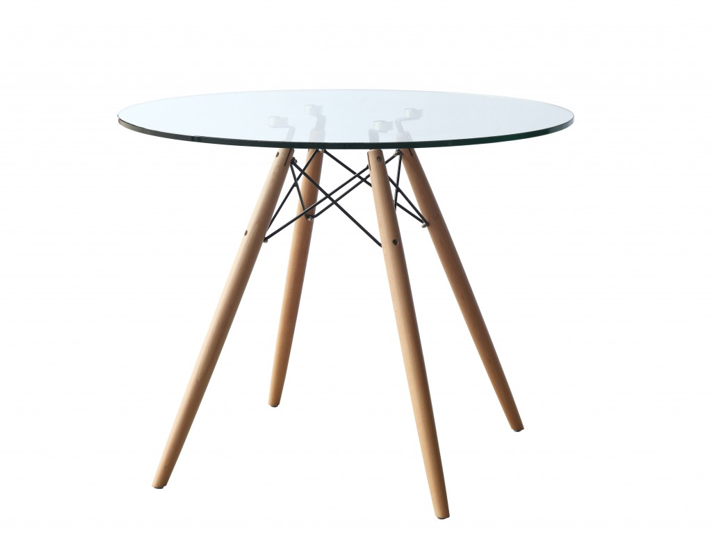 Glass Wood Wire 36 Inch Dining Table 2
