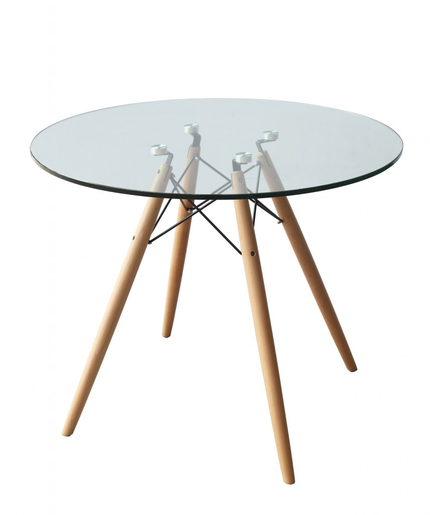 Glass Wood Wire 36 Inch Dining Table 3
