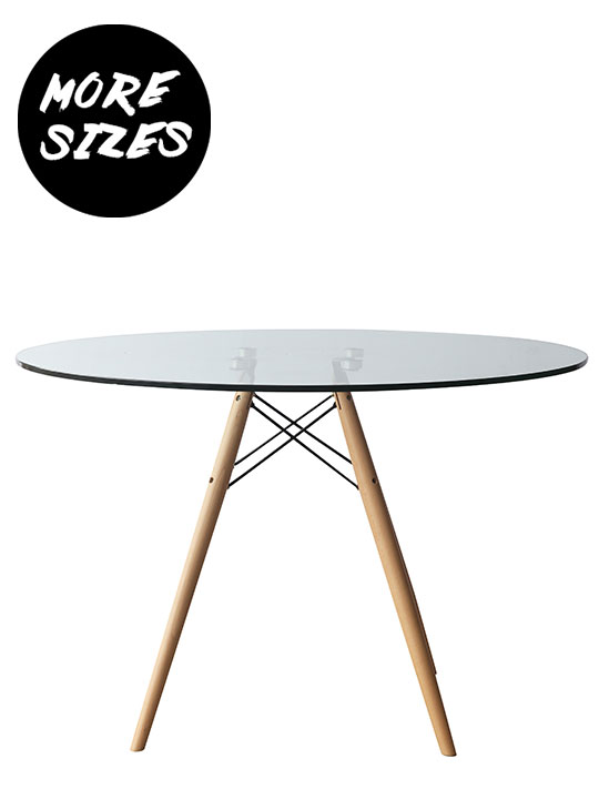 Glass Wood Wire Dining Table