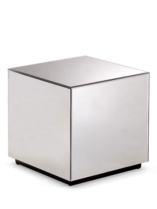 Mirror cube side end table