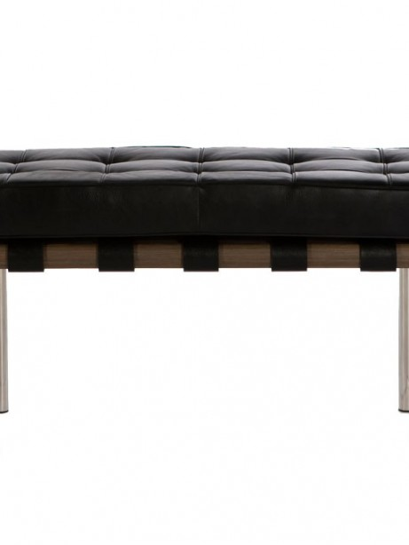 Modernist Black Leather 2 Seater Bench 1 461x614