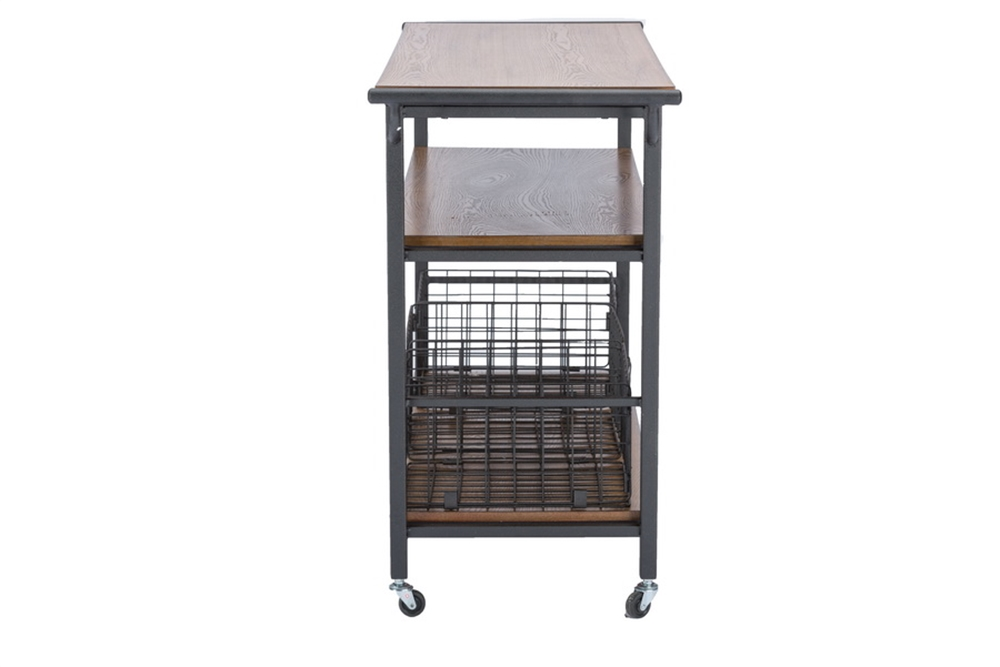 Cargo Wood Rolling Side Console Table 3