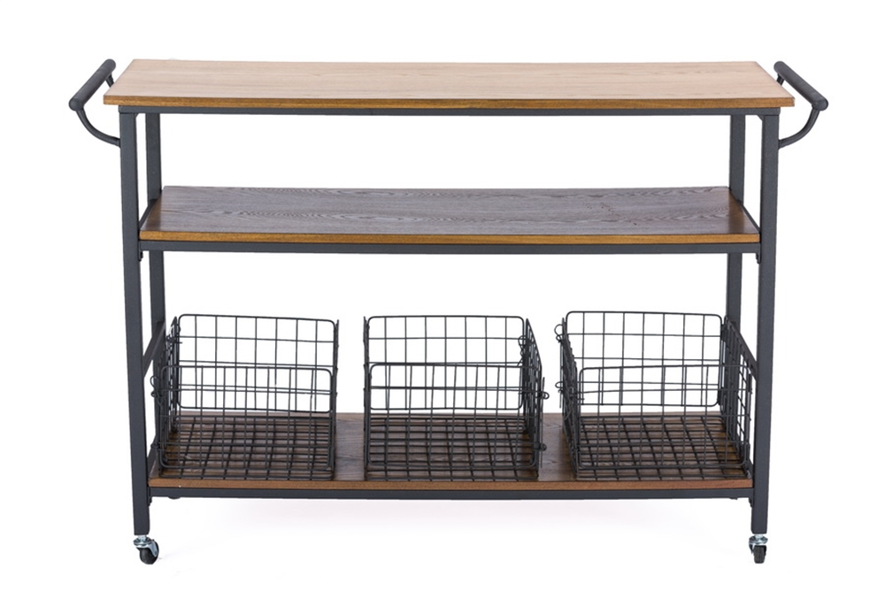 Cargo Wood Rolling Side Console Table 4