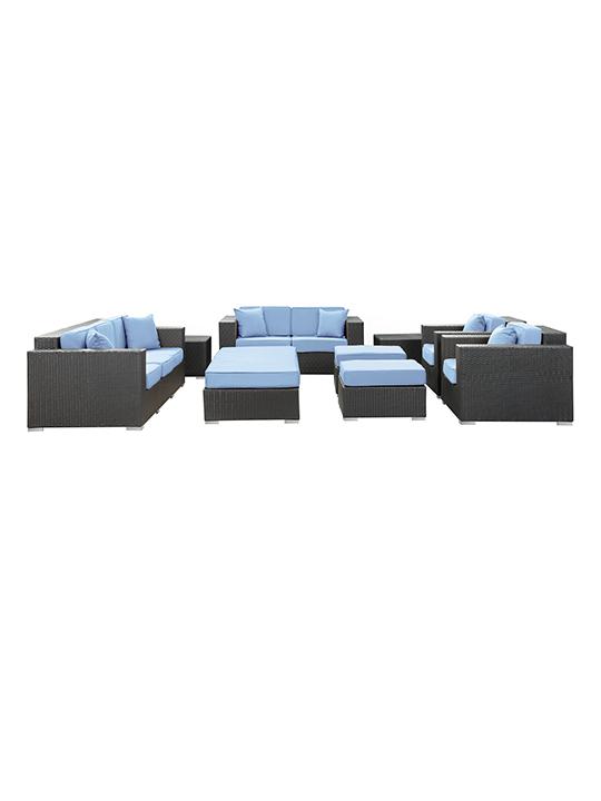 Light Blue Beverly Hills 9 Piece Outdoor Sofa Set