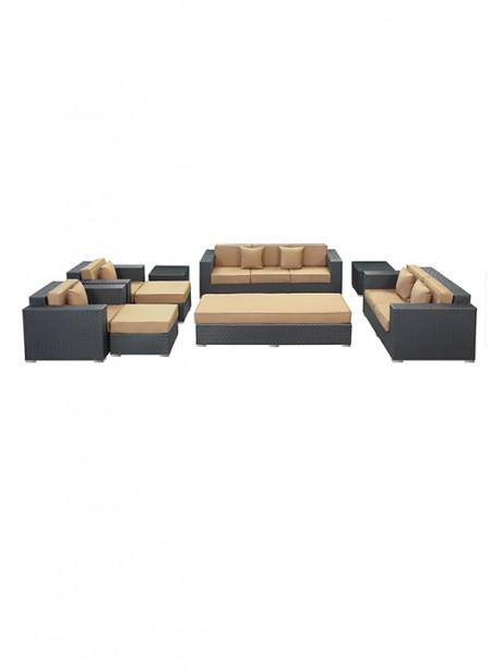Light Brown Beverly Hills 9 Piece Outdoor Sofa Set 461x614
