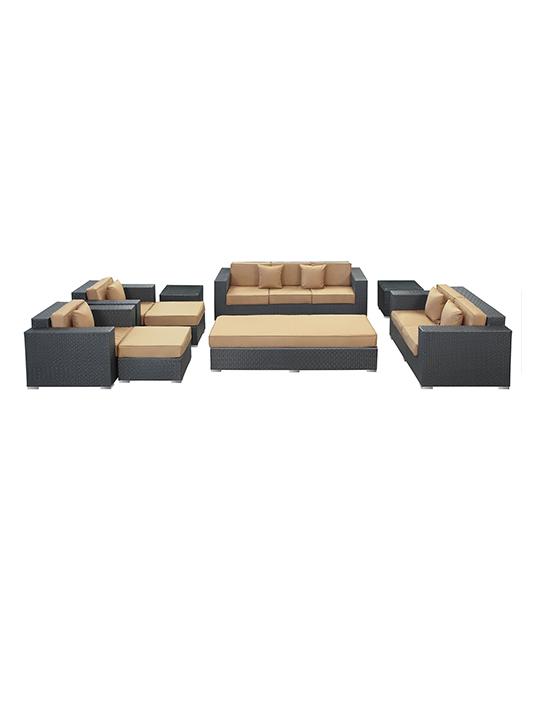Light Brown Beverly Hills 9 Piece Outdoor Sofa Set